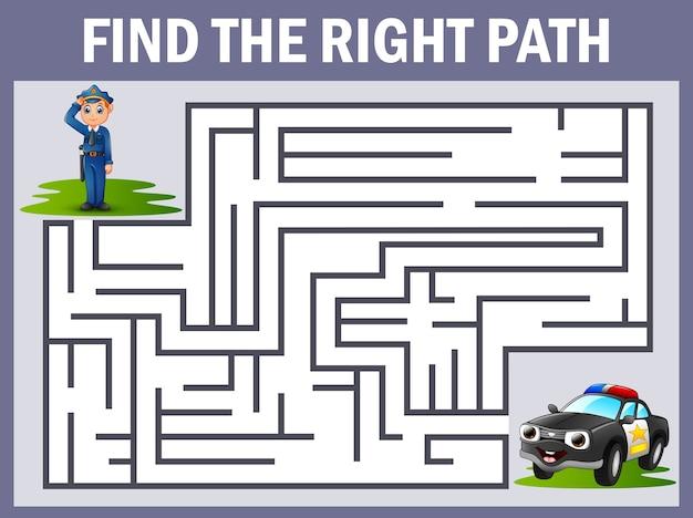Jeu de labyrinthe trouve le chemin de la police à la police de voiture