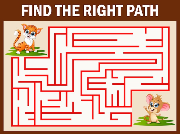 Jeu de labyrinthe trouve le moyen de chat pour attraper la souris