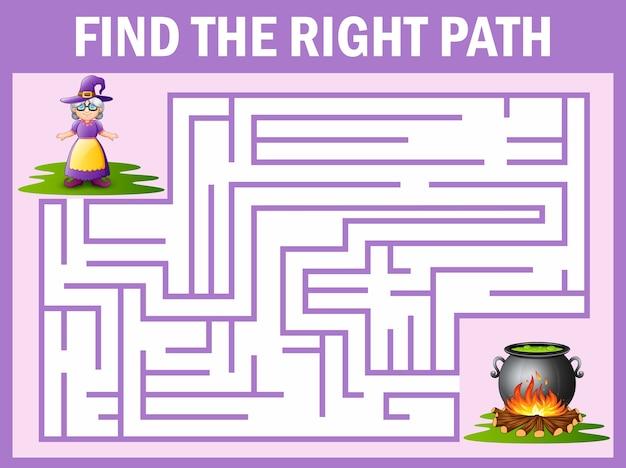 Jeu de labyrinthe trouve le moyen de sorcière au chaudron