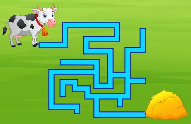 Jeu de labyrinthe de vaches trouver le chemin de la botte de foin