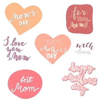 Jeu de lettrage de vecteur pour la fête des mères