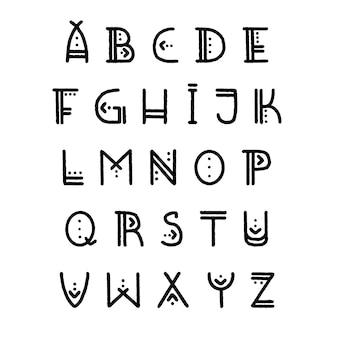 Jeu de lettres de l'alphabet amérindien. lettres majuscules dans un style autochtone authentique