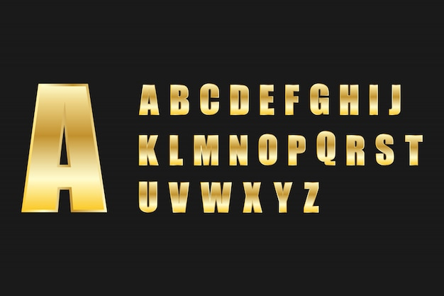 Jeu de lettres alphabet style métal doré