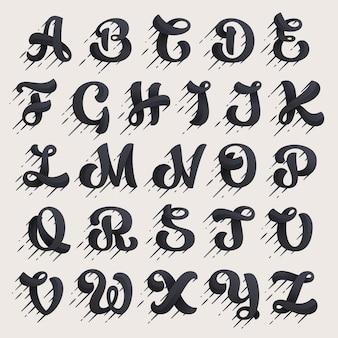 Jeu de lettres de l'alphabet. type de script à vitesse rapide.