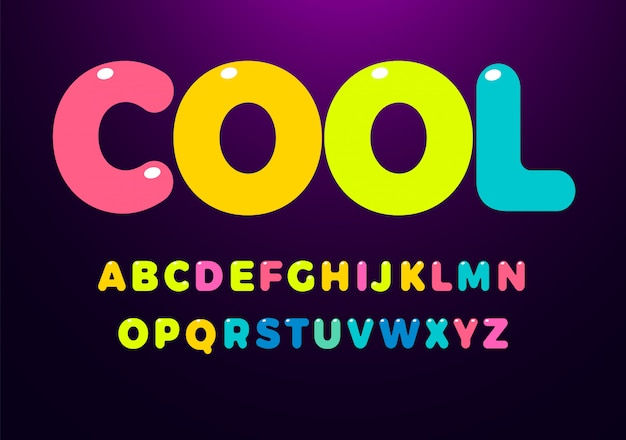 Jeu de lettres colorées cool cool. alphabet de style enfant brillant arrondi gras.