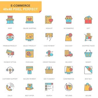 Jeu de ligne plate e-commerce et shopping icônes