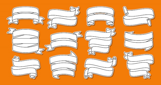 Jeu de lignes d'autocollants de ruban. bande collection plate vierge, patch contour décoratif. conception de contour, signe de rubans. kit d'icônes web de bandes de bannière de texte. isolé sur une illustration de fond orange