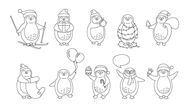 Jeu de lignes de dessin animé de noël pingouin. jolie collection de pingouins dessinés à la main plate. nouvel an sourire heureux caractère linéaire, bonnet de noel, ballons, guirlande, ski cadeau, bulle de dialogue.