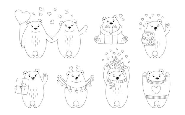 Jeu de lignes de dessin animé ours polaire. personnage animal drôle de doodle dessiné main avec coeurs, ballon, cadeau et colis