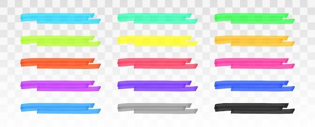 Jeu de lignes de surligneur de couleur isolé sur transparent