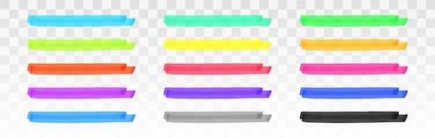 Jeu de lignes de surligneur de couleur isolé