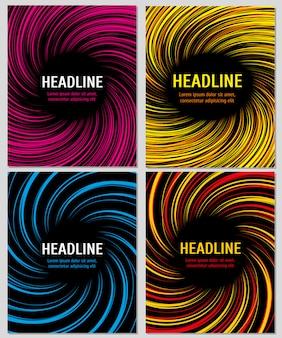 Jeu de lignes de vitesse de couleur en spirale. mise en page pour les brochures d'affaires