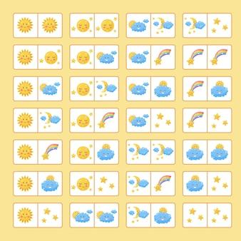Jeu de logique éducatif pour les enfants. domino de jeu de société. temps mignon. illustration vectorielle.