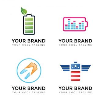 Jeu de logo de batterie de puissance moderne
