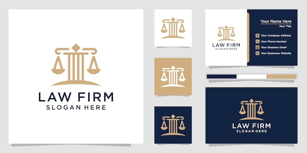 Jeu de logo de cabinet d'avocats et cartes de visite