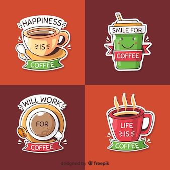 Jeu de logo café dessiné à la main