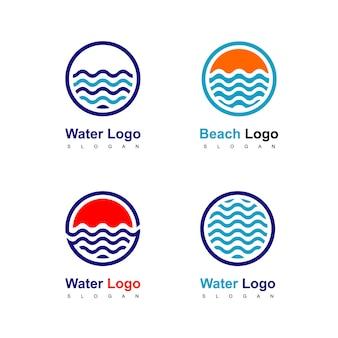 Jeu de logo cercle d'eau