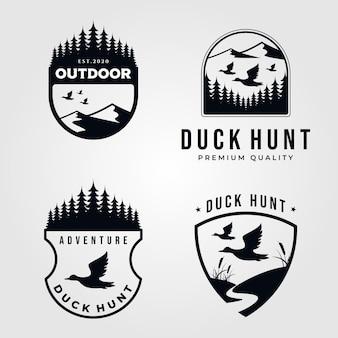 Jeu de logo de chasse au canard vintage