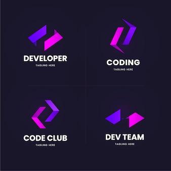 Jeu de logo de code plat