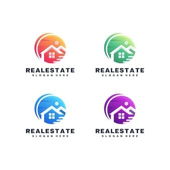 Jeu De Logo Coloré Immobilier Vecteur Premium