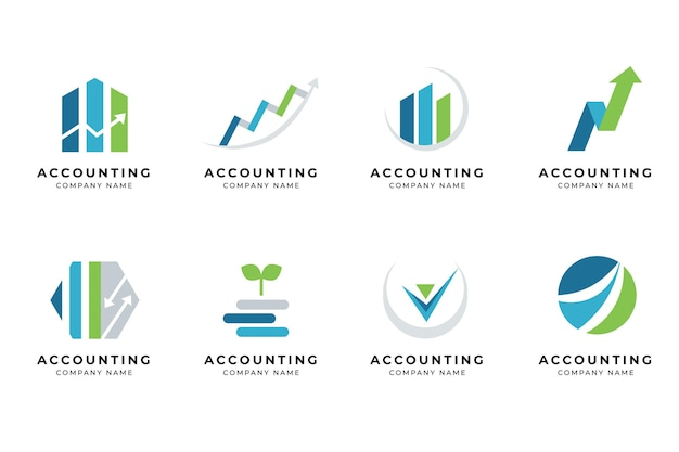 Jeu de logo de comptabilité design plat