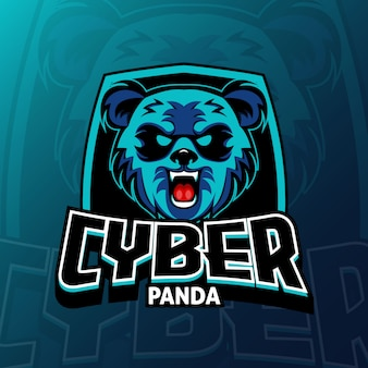 Jeu de logo cyber panda esport