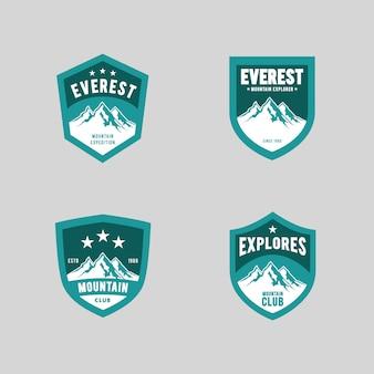 Jeu de logo d'expédition en montagne