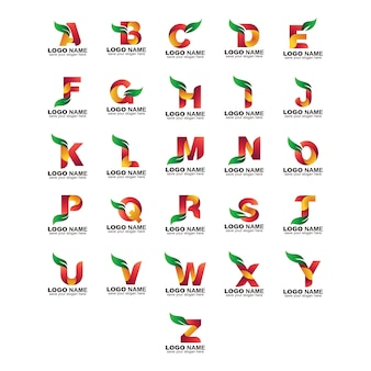 Jeu de logo feuille alphabet