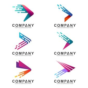 Jeu de logo de flèches rapides en forme de mouvement