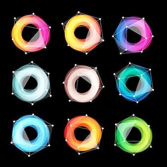 Jeu de logo de formes géométriques abstraites inhabituelles. collection colorée circulaire