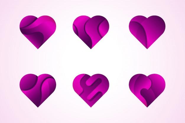 Jeu de logo icônes vectorielles amour coeurs.