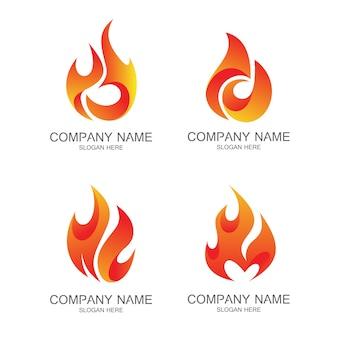 Jeu de logo incendie vector