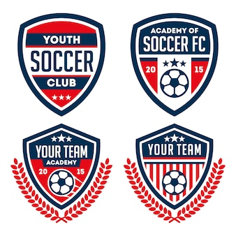 Jeu de logo et d'insigne de football isolé sur fond blanc
