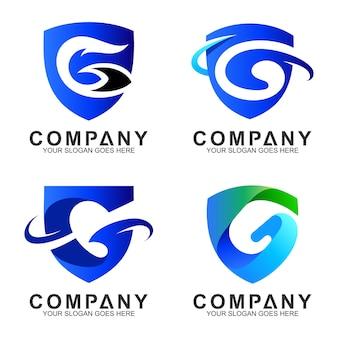 Jeu de logo de la lettre g de bouclier