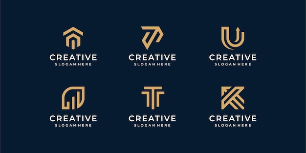 Jeu de logo de ligne moderne. collection de monogramme créatif avec lettre u et t