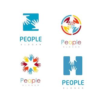 Jeu de logo de main de personnes