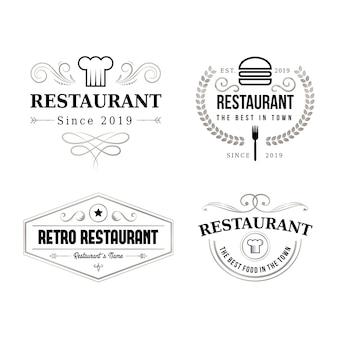 Jeu de logo de marque restaurant rétro