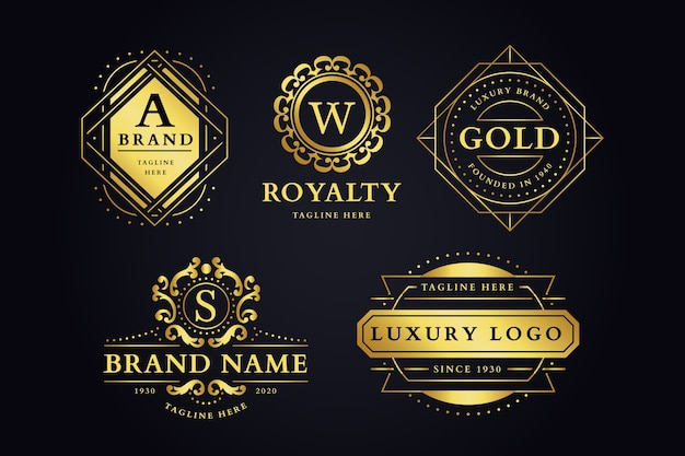 Jeu de logo de marque rétro luxueux