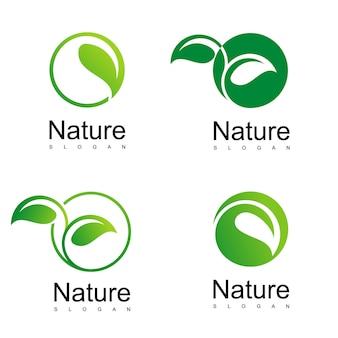 Jeu de logo de la nature, dessin d'icône de feuille