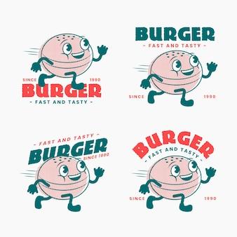 Jeu de logo de restaurant de dessin animé rétro