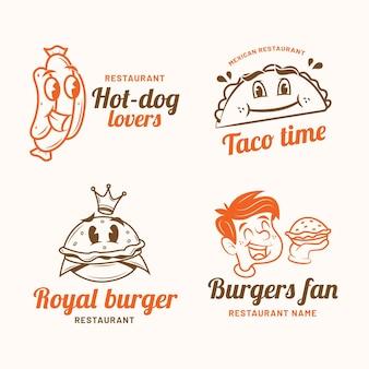 Jeu De Logo De Restaurant De Dessin Animé Rétro Vecteur gratuit