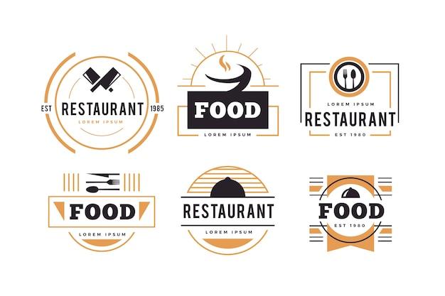 Jeu de logo restaurant rétro