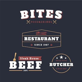 Jeu de logo de restaurant rétro