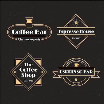 Jeu de logo rétro café