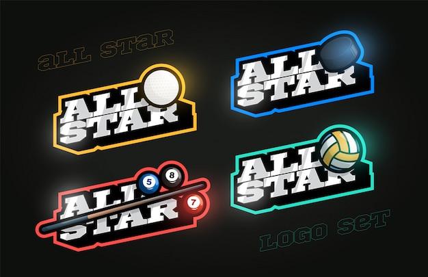 Jeu de logo sport étoiles style rétro