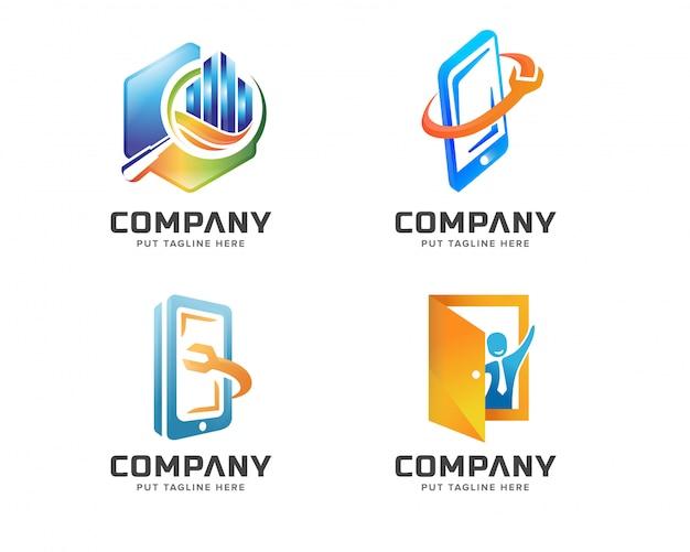 Jeu de logo de technologie créative