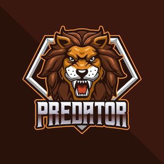 Jeu de logo de tête de lion esport