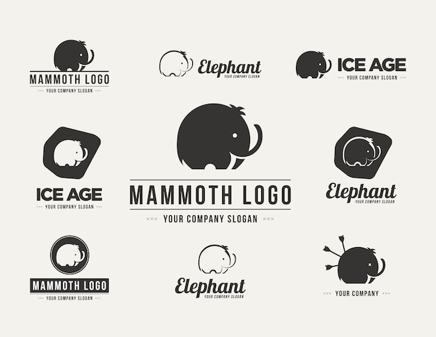 Jeu de logo vectoriel silhouette mammouth