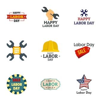 Jeu de logo vente fête du travail, style plat