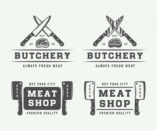 Jeu de logo de viande de boucherie